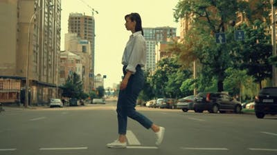 Pedestrian in Modern Town