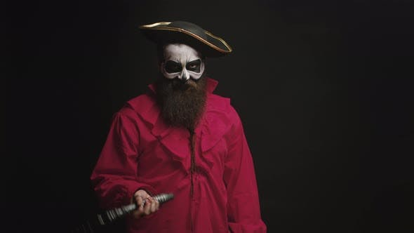 Thumbnail for Bearded Man with Makeup and Pirate Costume