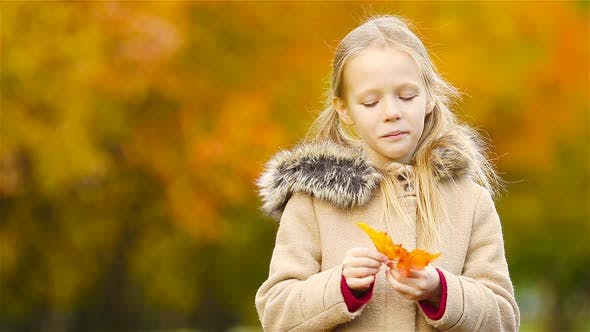 Thumbnail for Portrait of Adorable Little Girl Outdoors at Beautiful Warm Day with Yellow Leaf in Fall