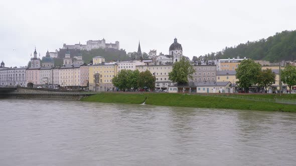 Thumbnail for View From Love Bridge on Center of Salzburg During the Rain, Austria