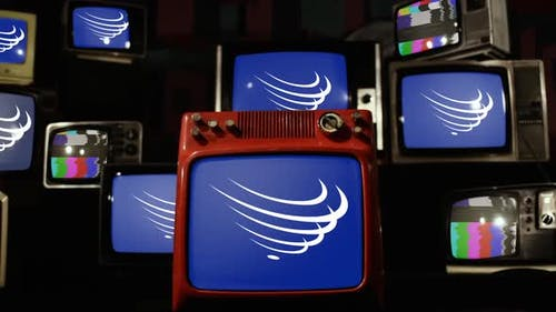 Flag of Union of South American Nations (UNASUR) and Retro TVs.