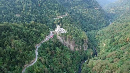 A Medieval Castle and Watchtower on Forest in Rize Camlihemsin Turkey