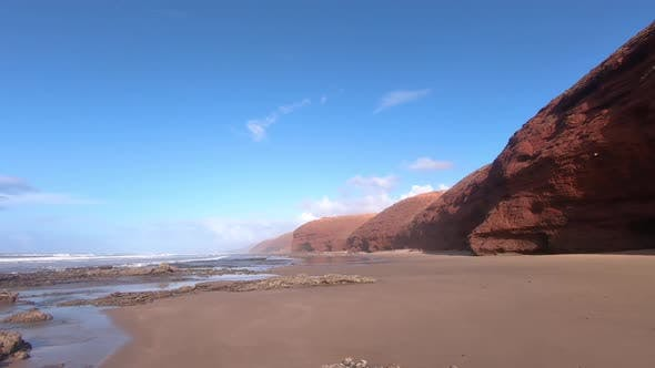 Cover Image for Red Cliff in Ocean Coast Beach in Morocco Nature Landscape
