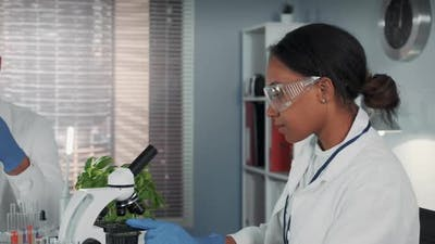 Mixed Race Woman in Lab Coat and Safety Glasses Working with Microscope