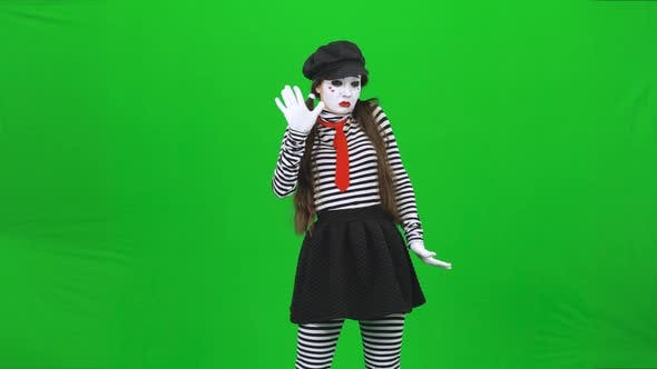 Thumbnail for Mime Girl Putting Hands on Invisible Glass, Dancing. Chroma Key.