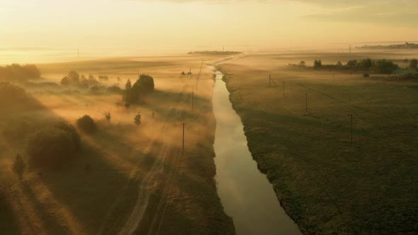 Thumbnail for Morning Nature with Fog on the River. Soft Light Amid the Fog