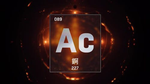 Actinium as Element 89 of the Periodic Table on Orange Background in Chinese Language
