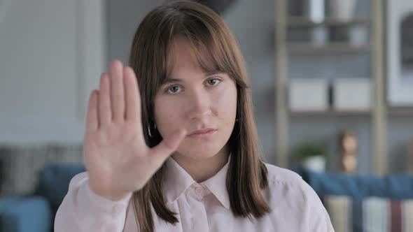 Thumbnail for Stop Gesture by Casual Young Girl, Denying Offer