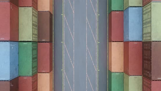 Cover Image for Drone Filming Rows of Cargo Shipping Containers at Sea Freight Cargo Transportation Port