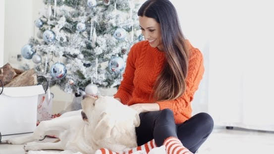 Thumbnail for Laughing Young Woman With Her Dog At Christmas