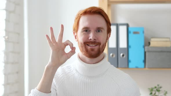 Cover Image for Okay Gesture by Handsome Man with Red Hairs
