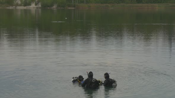 Three Divers Distantly Are Standing in The Water