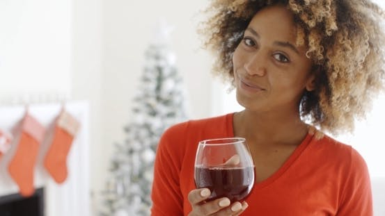 Thumbnail for Young Woman Offering a Christmas Toast