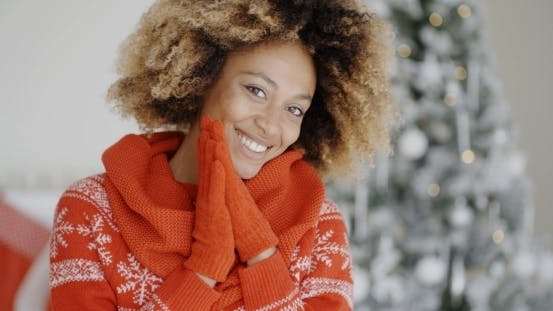 Thumbnail for Smiling Happy Young Woman In a Christmas Outfit