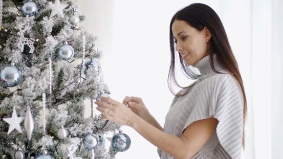 Thumbnail for Pretty Trendy Woman Decorating An Xmas Tree