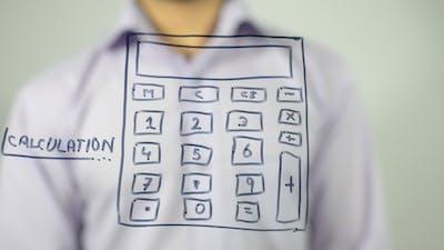 Calculation, conceptual Illustration of Calculator