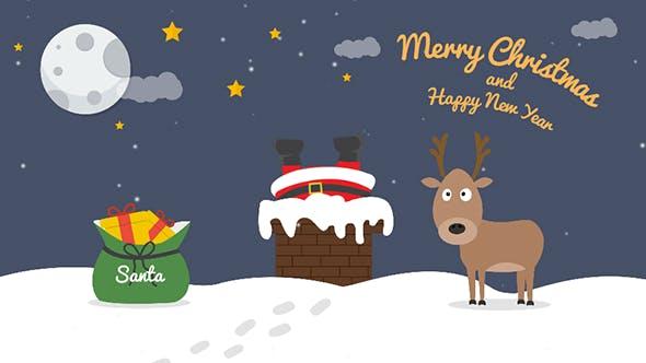Postal de Navidad de dibujos animados 04