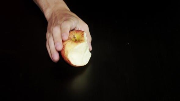 Thumbnail for Eating Apple On Black Background Nibble Apple