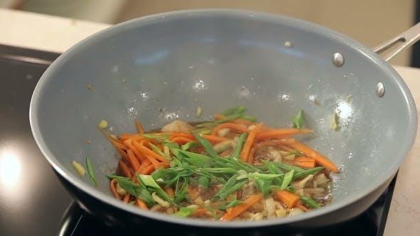 Thumbnail for Stir Fry Asian Cuisine Vegetables With Sesame