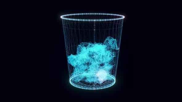 Paper Trash Hologram Rotating 4k