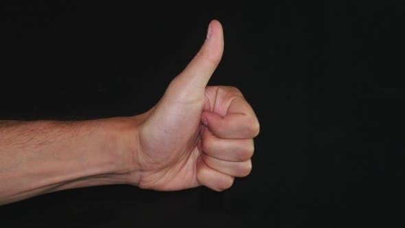 Thumbnail for Thumbs Up Hand On Black Background. Like