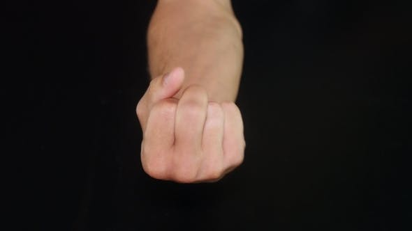 Thumbnail for Male Hand Showing Middle Finger. Black Background
