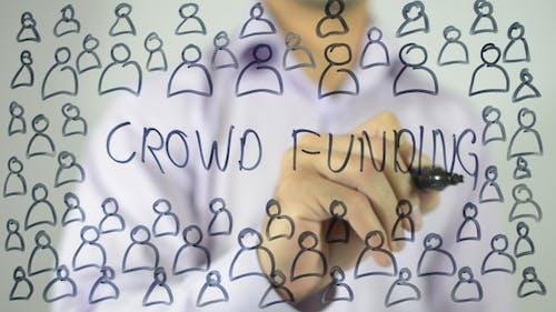 Crowd Funding, Illustration on Transparent Screen