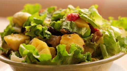 Green Vegan Salad From Green Leaves Mix and Vegetables