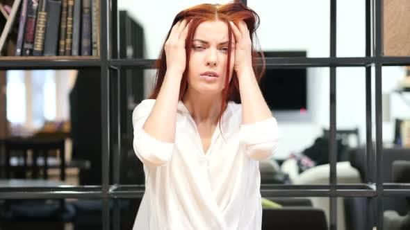 Thumbnail for Headache, Frustration, Tense Beautiful Woman Portrait