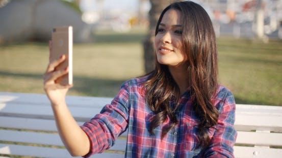 Thumbnail for Girl Making Selfie Outdoor