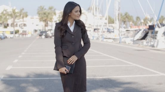Thumbnail for Business Woman Walking On The The Pier