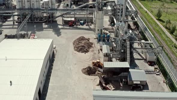 Thumbnail for Aerial Drone View. Factory Industrial Zone, Wood Processing Factory Warehouses, Workers Inside the