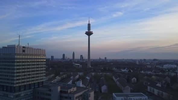 Thumbnail for AERIAL: Frankfurt Am Main From Far Away at Sunshine
