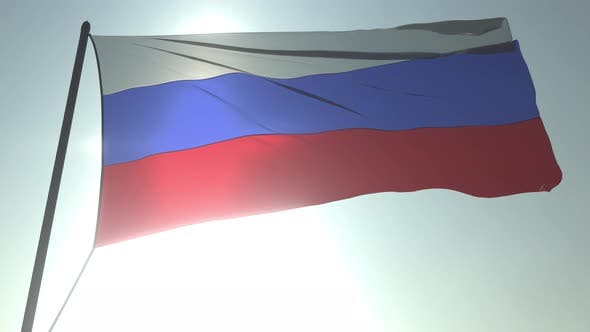 Thumbnail for Waving Flag of Russia Against Shining Sun and Sky