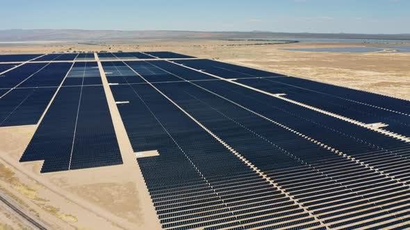 Thumbnail for Impressive Fields with Hundreds of Solar Panels in Sunny Desert of California