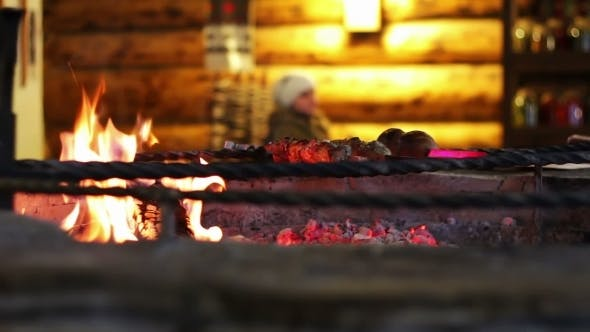 Cover Image for Kebab Prepared On The Grill In The Restaurant.