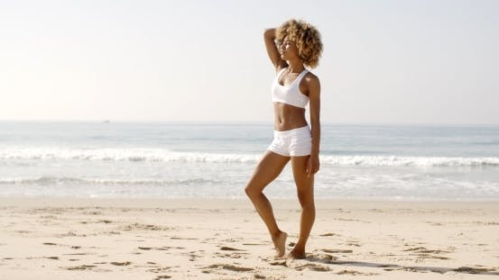 Thumbnail for Fitness Young Woman Standing On Beach
