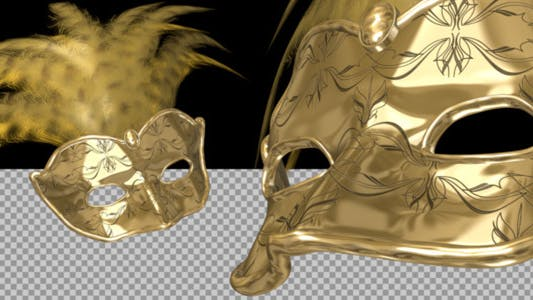 Thumbnail for Romantic Mask - Gold and Feathers - Pack of 2