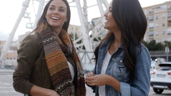 Thumbnail for Fun Happy Young Women In Front Of a Ferris Wheel