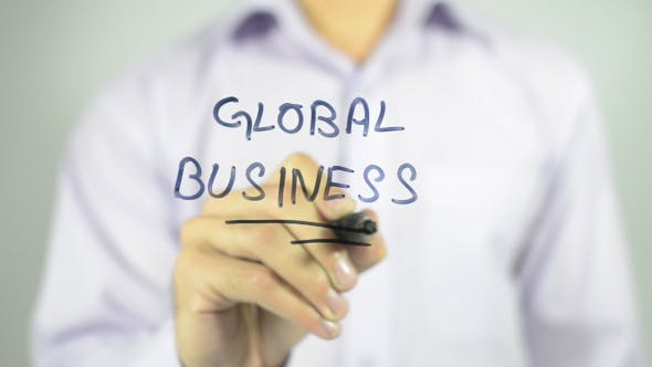 Thumbnail for Global Business, Writing on Transparent Screen