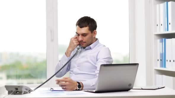Thumbnail for Angry Businessman With Laptop Calling On Phone 5