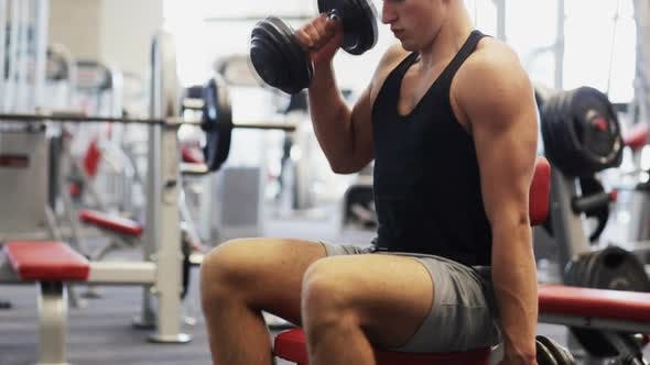 Thumbnail for Young Man With Dumbbells In Gym