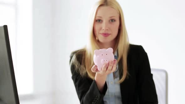 Thumbnail for Business Woman With Piggy Bank And Money