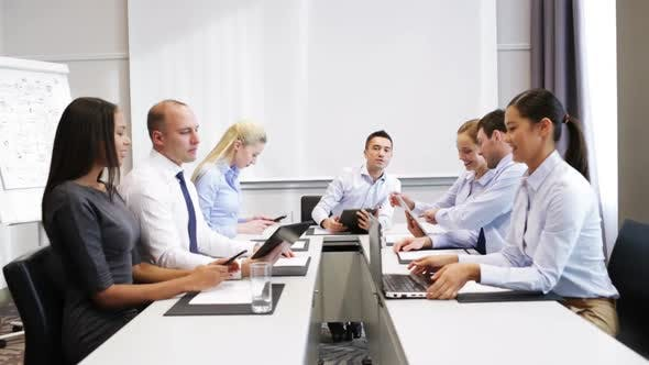 Thumbnail for Smiling Business People Meeting In Office 12