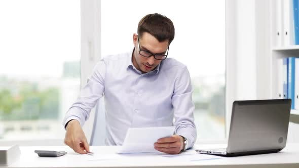 Thumbnail for Busy Businessman With Laptop And Papers In Office 16