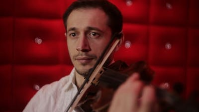 Elegant Emotional Man Violinist Fiddler Playing
