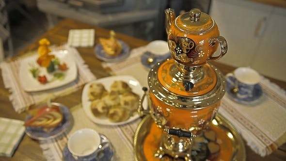 Thumbnail for Table With Sweets. Samovar With Tea And Pies