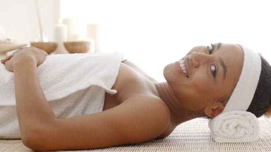 Thumbnail for Smiling Female Enjoying Spa Therapy