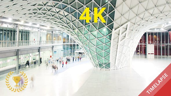 Thumbnail for People Walking in a Futuristic Hall