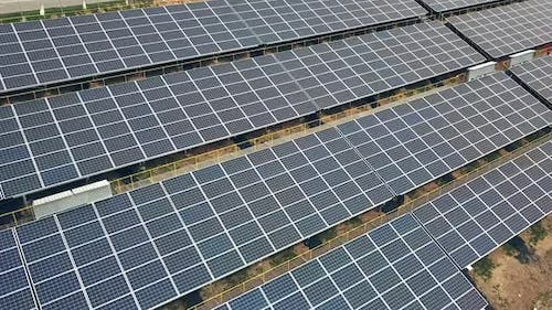 Solar panels in aerial view. Solar farm. Source of ecological renewable energy.